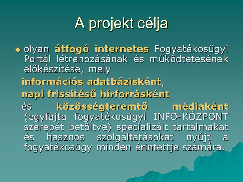 A projekt célja  olyan átfogó internetes Fogyatékosügyi Portál létrehozásának és működtetésének előkészítése, mely információs adatbázisként, információs adatbázisként, napi frissítésű hírforrásként napi frissítésű hírforrásként és közösségteremtő médiaként (egyfajta fogyatékosügyi INFO-KÖZPONT szerepét betöltve) specializált tartalmakat és hasznos szolgáltatásokat nyújt a fogyatékosügy minden érintettje számára.