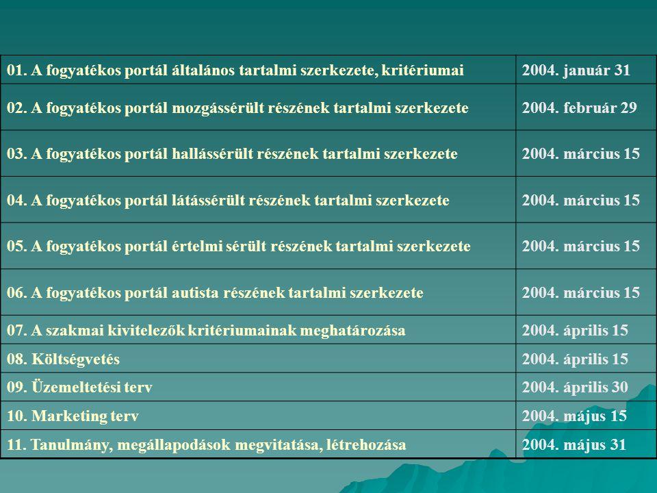 01. A fogyatékos portál általános tartalmi szerkezete, kritériumai2004.