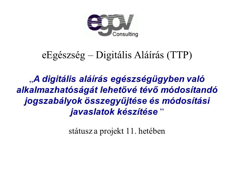 eEgészség – Digitális Aláírás (TTP) státusz a projekt 11.
