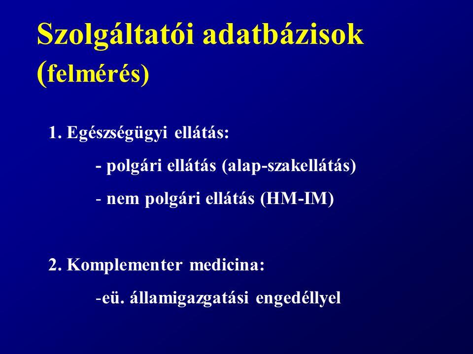 Szolgáltatói adatbázisok ( felmérés) 1. Egészségügyi ellátás: - polgári ellátás (alap-szakellátás) - nem polgári ellátás (HM-IM) 2. Komplementer medic