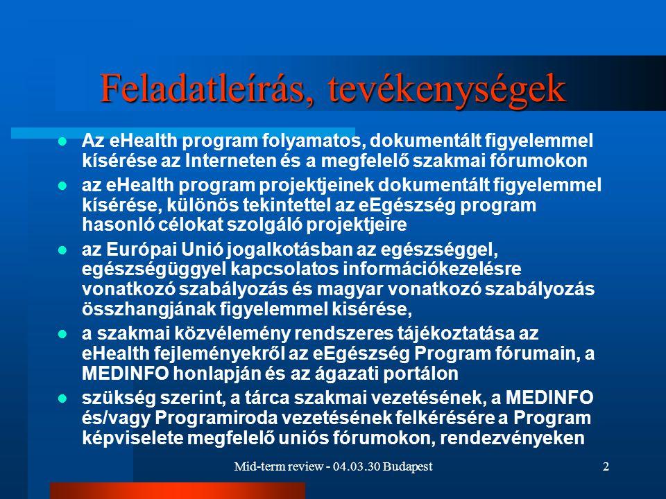 Mid-term review - 04.03.30 Budapest2 Feladatleírás, tevékenységek Az eHealth program folyamatos, dokumentált figyelemmel kísérése az Interneten és a megfelelő szakmai fórumokon az eHealth program projektjeinek dokumentált figyelemmel kísérése, különös tekintettel az eEgészség program hasonló célokat szolgáló projektjeire az Európai Unió jogalkotásban az egészséggel, egészségüggyel kapcsolatos információkezelésre vonatkozó szabályozás és magyar vonatkozó szabályozás összhangjának figyelemmel kisérése, a szakmai közvélemény rendszeres tájékoztatása az eHealth fejleményekről az eEgészség Program fórumain, a MEDINFO honlapján és az ágazati portálon szükség szerint, a tárca szakmai vezetésének, a MEDINFO és/vagy Programiroda vezetésének felkérésére a Program képviselete megfelelő uniós fórumokon, rendezvényeken