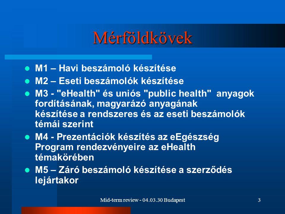 Mid-term review - 04.03.30 Budapest3 Mérföldkövek M1 – Havi beszámoló készítése M2 – Eseti beszámolók készítése M3 - eHealth és uniós public health anyagok fordításának, magyarázó anyagának készítése a rendszeres és az eseti beszámolók témái szerint M4 - Prezentációk készítés az eEgészség Program rendezvényeire az eHealth témakörében M5 – Záró beszámoló készítése a szerződés lejártakor