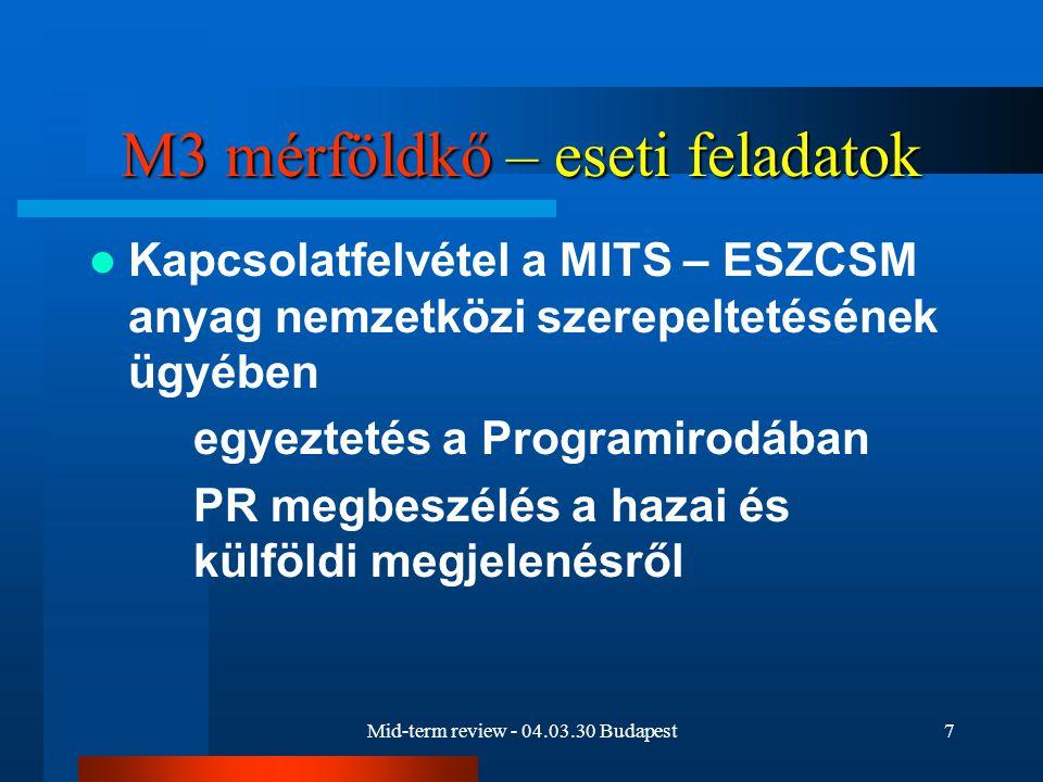 Mid-term review - 04.03.30 Budapest7 M3 mérföldkő – eseti feladatok Kapcsolatfelvétel a MITS – ESZCSM anyag nemzetközi szerepeltetésének ügyében egyeztetés a Programirodában PR megbeszélés a hazai és külföldi megjelenésről