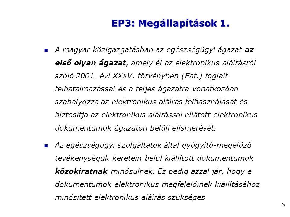5 A magyar közigazgatásban az egészségügyi ágazat az első olyan ágazat, amely él az elektronikus aláírásról szóló 2001. évi XXXV. törvényben (Eat.) fo
