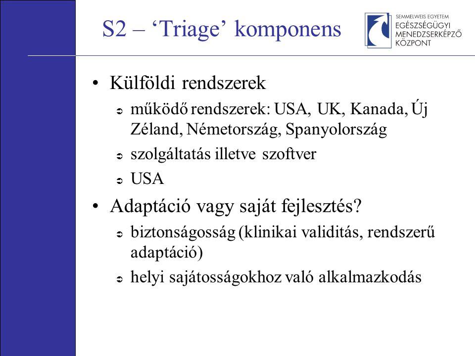 S2 – 'Triage' komponens Külföldi rendszerek  működő rendszerek: USA, UK, Kanada, Új Zéland, Németország, Spanyolország  szolgáltatás illetve szoftver  USA Adaptáció vagy saját fejlesztés.