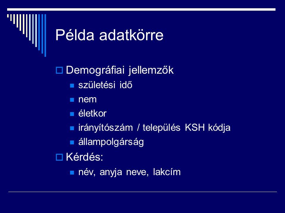 Példa adatkörre  Demográfiai jellemzők születési idő nem életkor irányítószám / település KSH kódja állampolgárság  Kérdés: név, anyja neve, lakcím
