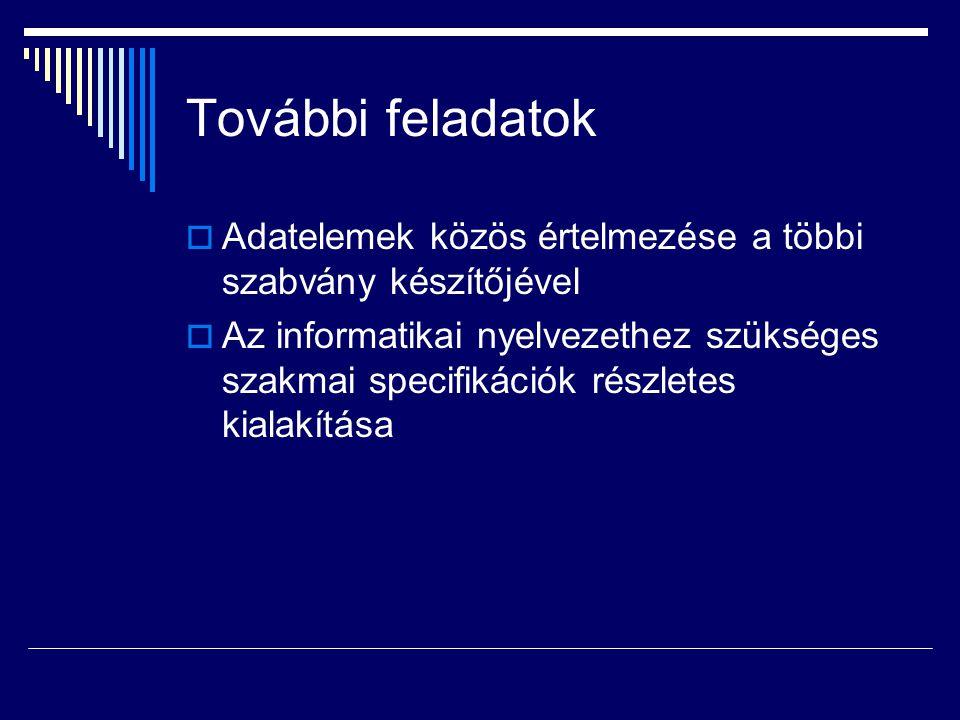 További feladatok  Adatelemek közös értelmezése a többi szabvány készítőjével  Az informatikai nyelvezethez szükséges szakmai specifikációk részletes kialakítása