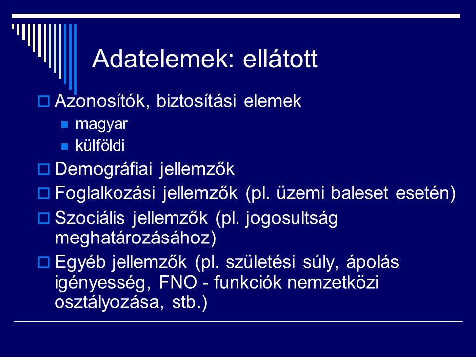 Adatelemek: ellátott  Azonosítók, biztosítási elemek magyar külföldi  Demográfiai jellemzők  Foglalkozási jellemzők (pl.
