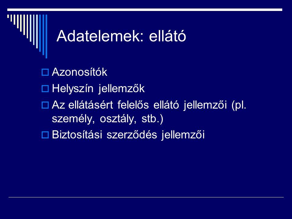 Adatelemek: ellátó  Azonosítók  Helyszín jellemzők  Az ellátásért felelős ellátó jellemzői (pl.