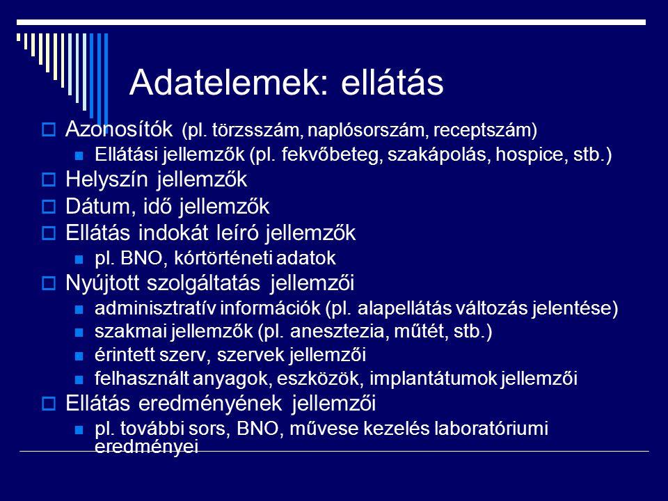 Adatelemek: ellátás  Azonosítók (pl.törzsszám, naplósorszám, receptszám) Ellátási jellemzők (pl.