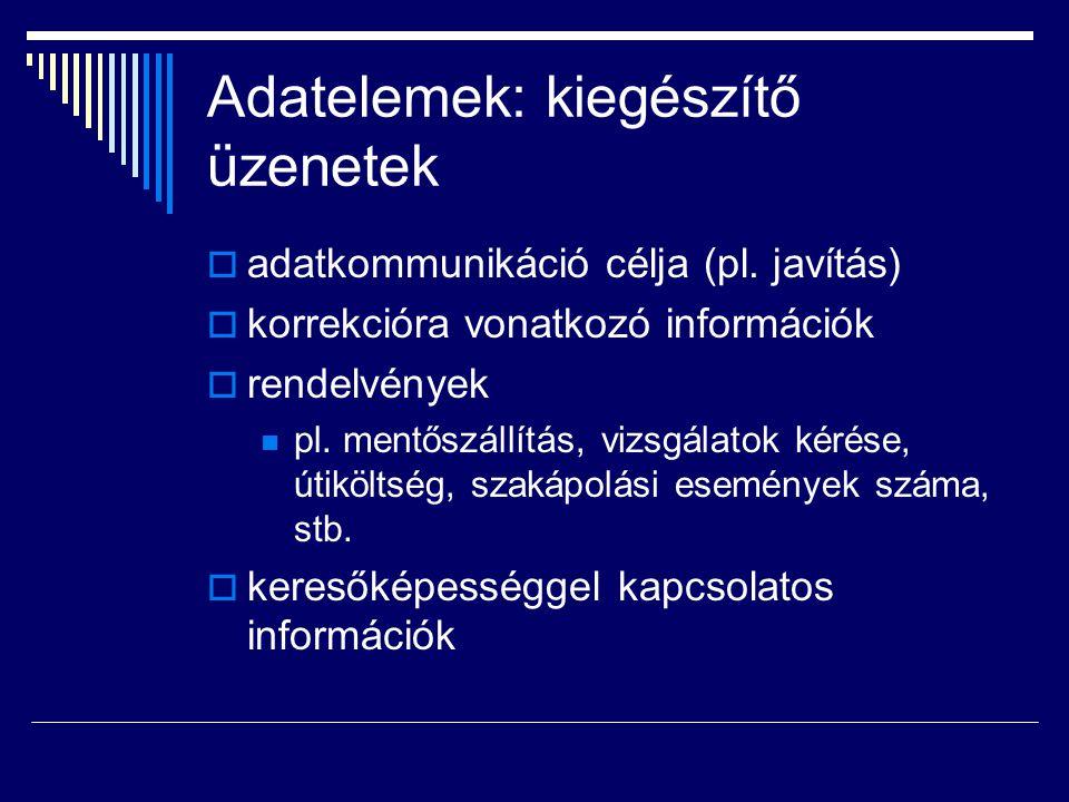 Adatelemek: kiegészítő üzenetek  adatkommunikáció célja (pl.
