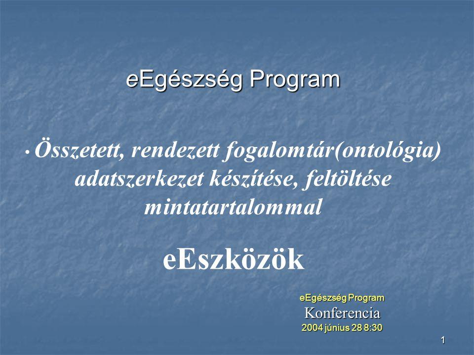 1 eEgészség Program Összetett, rendezett fogalomtár(ontológia) adatszerkezet készítése, feltöltése mintatartalommal eEszközök eEgészség Program Konferencia 2004 június 28 8:30