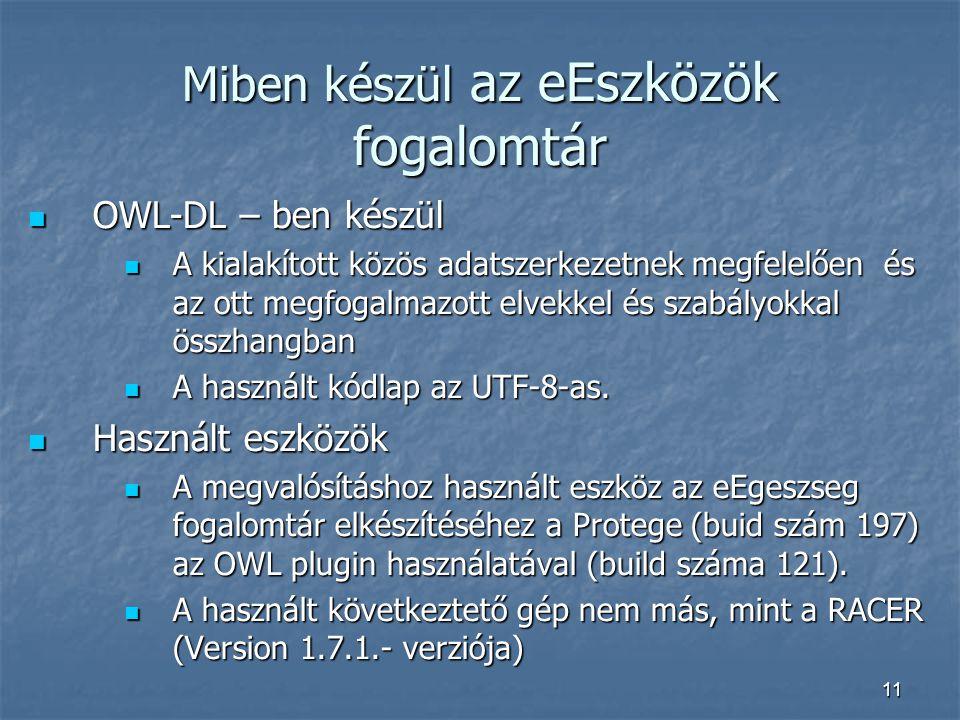 11 Miben készül az eEszközök fogalomtár OWL-DL – ben készül OWL-DL – ben készül A kialakított közös adatszerkezetnek megfelelően és az ott megfogalmazott elvekkel és szabályokkal összhangban A kialakított közös adatszerkezetnek megfelelően és az ott megfogalmazott elvekkel és szabályokkal összhangban A használt kódlap az UTF-8-as.