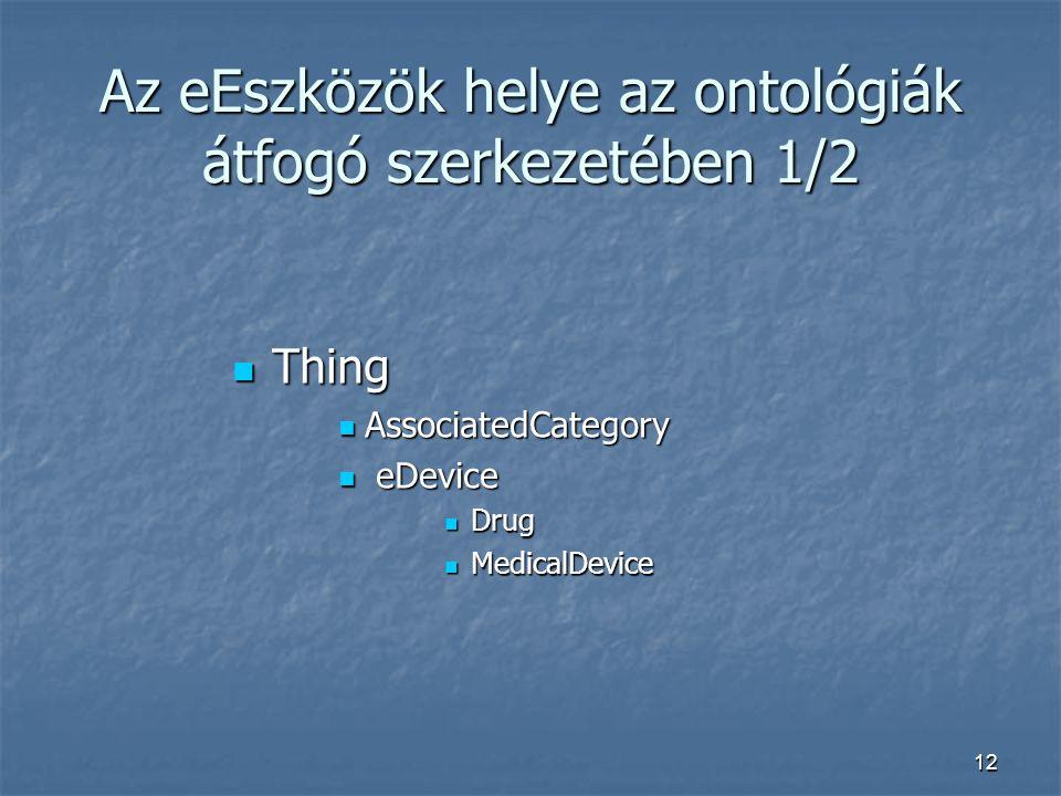 12 Az eEszközök helye az ontológiák átfogó szerkezetében 1/2 Thing Thing AssociatedCategory AssociatedCategory eDevice eDevice Drug Drug MedicalDevice MedicalDevice