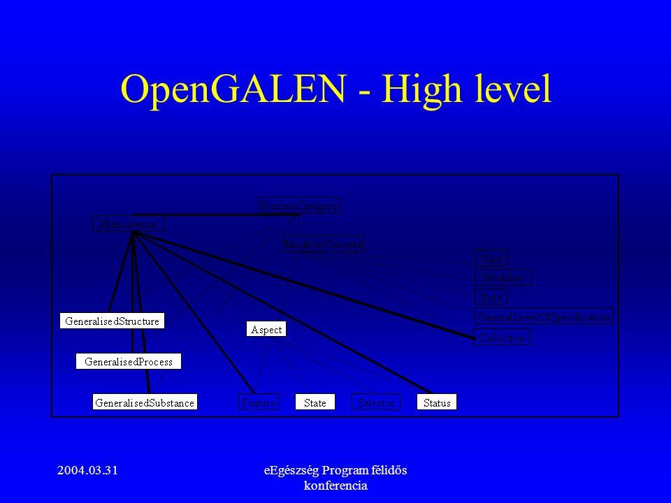 2004.03.31eEgészség Program félidős konferencia OpenGALEN - High level