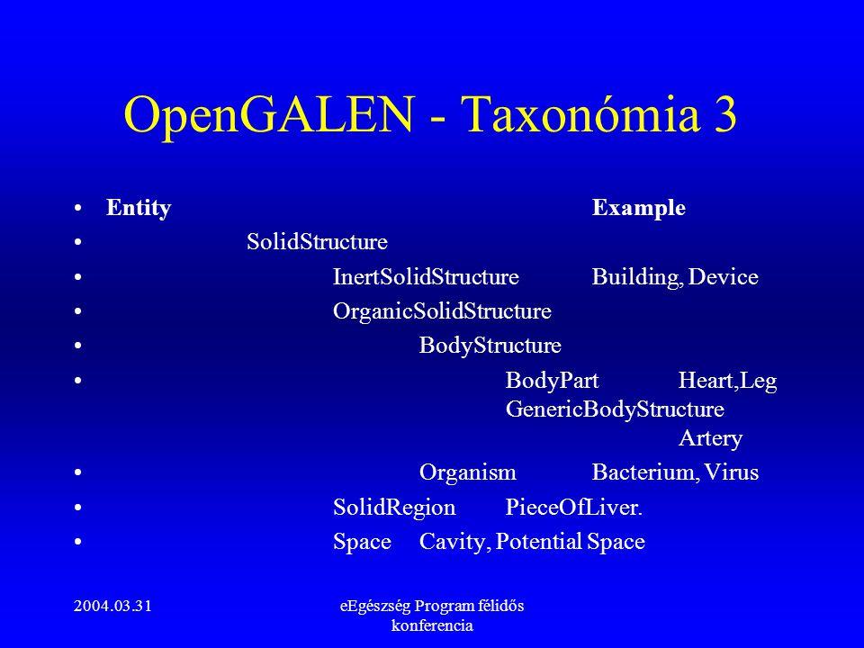 2004.03.31eEgészség Program félidős konferencia OpenGALEN - Taxonómia 3 EntityExample SolidStructure InertSolidStructureBuilding, Device OrganicSolidS
