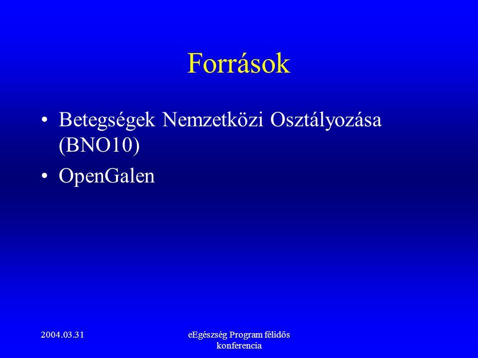 2004.03.31eEgészség Program félidős konferencia Források Betegségek Nemzetközi Osztályozása (BNO10) OpenGalen