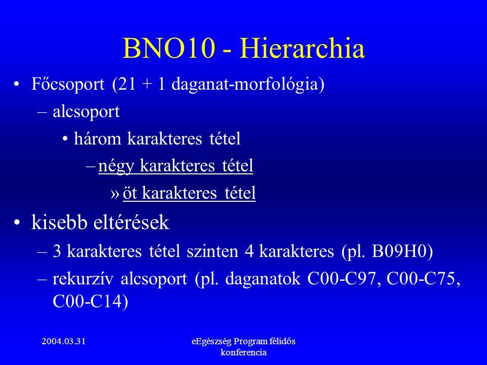 2004.03.31eEgészség Program félidős konferencia BNO10 - Hierarchia Főcsoport (21 + 1 daganat-morfológia) –alcsoport három karakteres tétel –négy karak