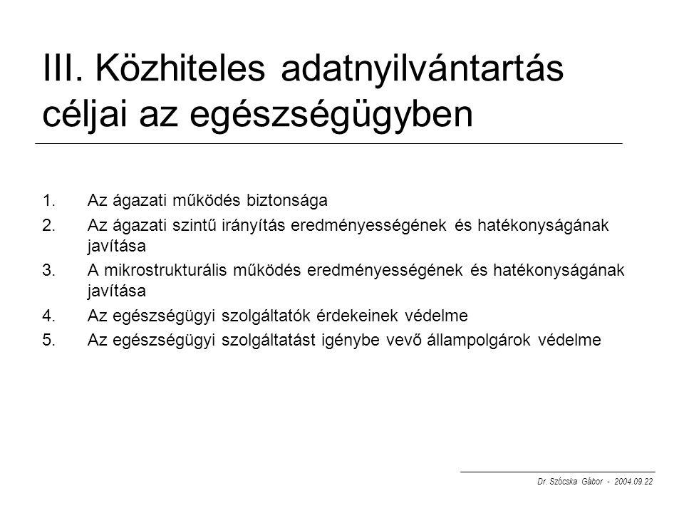 III. Közhiteles adatnyilvántartás céljai az egészségügyben 1.Az ágazati működés biztonsága 2.Az ágazati szintű irányítás eredményességének és hatékony