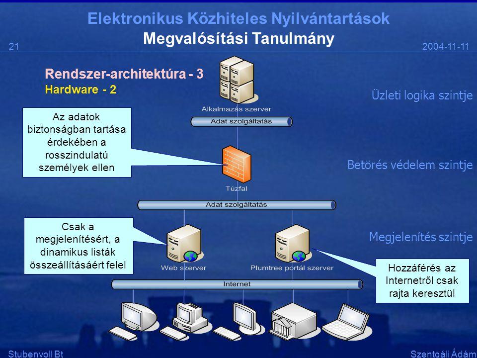 Elektronikus Közhiteles Nyilvántartások 2004-11-1121 Stubenvoll BtSzentgáli Ádám Megvalósítási Tanulmány Hardware - 2 Rendszer-architektúra - 3 Üzleti logika szintje Betörés védelem szintje Megjelenítés szintje Az adatok biztonságban tartása érdekében a rosszindulatú személyek ellen Csak a megjelenítésért, a dinamikus listák összeállításáért felel Hozzáférés az Internetről csak rajta keresztül