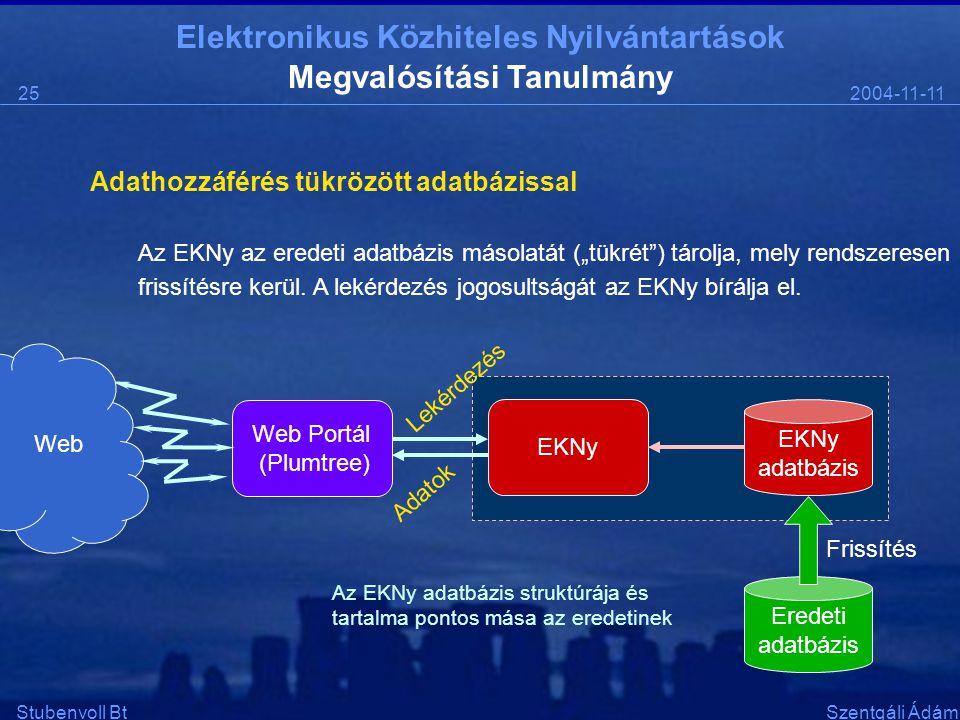 """Elektronikus Közhiteles Nyilvántartások 2004-11-1125 Stubenvoll BtSzentgáli Ádám Megvalósítási Tanulmány Adathozzáférés tükrözött adatbázissal Az EKNy az eredeti adatbázis másolatát (""""tükrét ) tárolja, mely rendszeresen frissítésre kerül."""