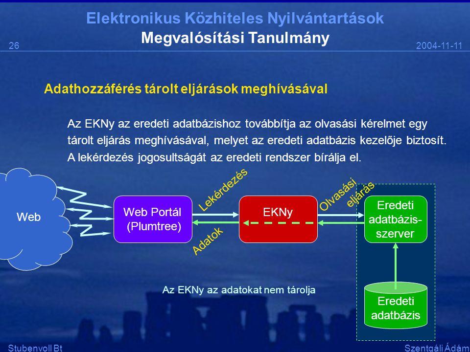 Elektronikus Közhiteles Nyilvántartások 2004-11-1126 Stubenvoll BtSzentgáli Ádám Megvalósítási Tanulmány Adathozzáférés tárolt eljárások meghívásával Az EKNy az eredeti adatbázishoz továbbítja az olvasási kérelmet egy tárolt eljárás meghívásával, melyet az eredeti adatbázis kezelője biztosít.