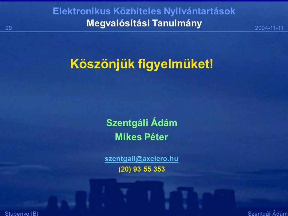 Elektronikus Közhiteles Nyilvántartások 2004-11-1129 Stubenvoll BtSzentgáli Ádám Köszönjük figyelmüket! Szentgáli Ádám Mikes Péter szentgali@axelero.h