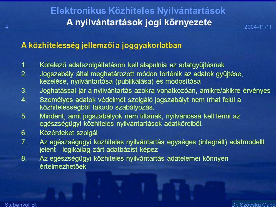 Elektronikus Közhiteles Nyilvántartások 2004-11-114 Stubenvoll BtSzentgáli Ádám A nyilvántartások jogi környezete A közhitelesség jellemzői a joggyakorlatban 1.Kötelező adatszolgáltatáson kell alapulnia az adatgyűjtésnek 2.Jogszabály által meghatározott módon történik az adatok gyűjtése, kezelése, nyilvántartása (publikálása) és módosítása 3.Joghatással jár a nyilvántartás azokra vonatkozóan, amikre/akikre érvényes 4.Személyes adatok védelmét szolgáló jogszabályt nem írhat felül a közhitelességből fakadó szabályozás.