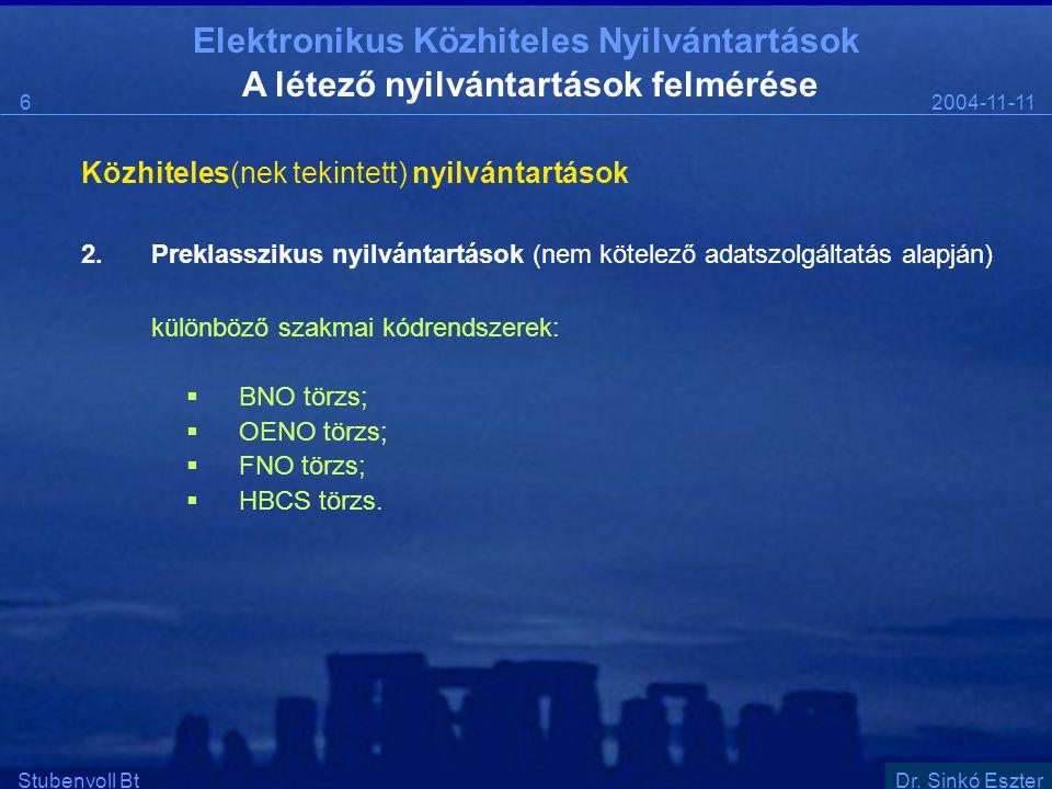 Elektronikus Közhiteles Nyilvántartások 2004-11-116 Stubenvoll BtSzentgáli Ádám A létező nyilvántartások felmérése Közhiteles(nek tekintett) nyilvántartások 2.Preklasszikus nyilvántartások (nem kötelező adatszolgáltatás alapján) különböző szakmai kódrendszerek:  BNO törzs;  OENO törzs;  FNO törzs;  HBCS törzs.