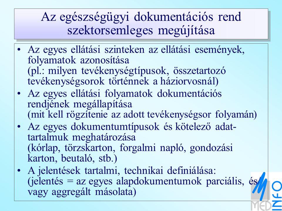 Az egészségügyi dokumentációs rend szektorsemleges megújítása Az egyes ellátási szinteken az ellátási események, folyamatok azonosítása (pl.: milyen t