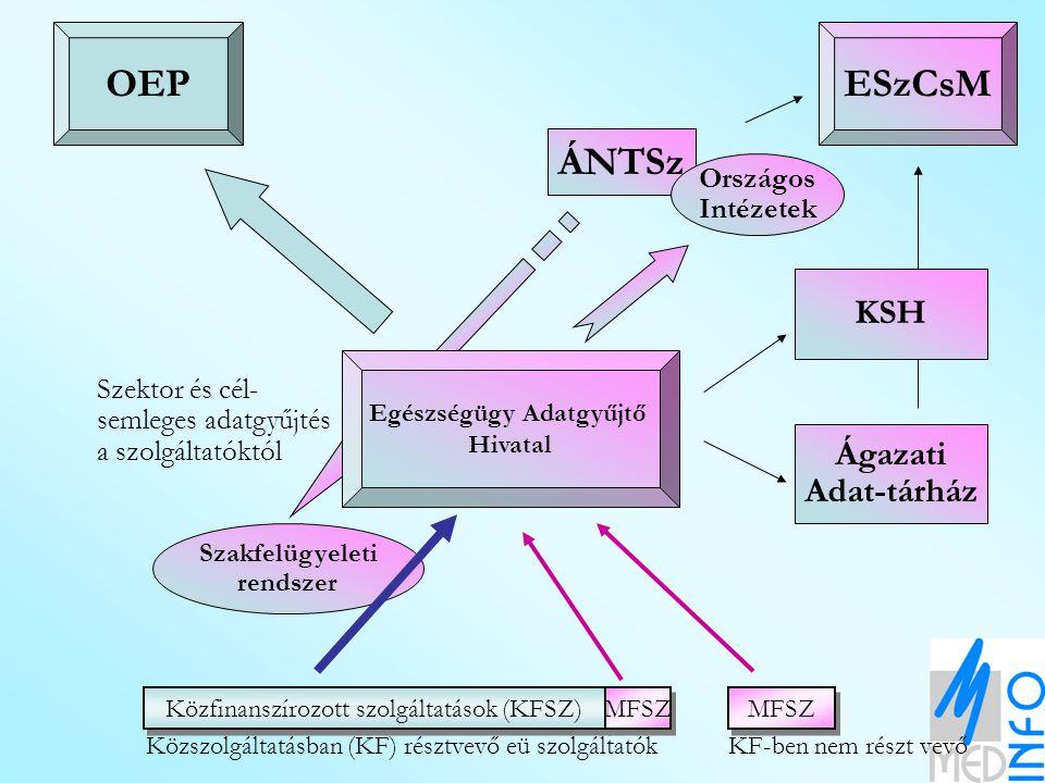 Közfinanszírozott szolgáltatások (KFSZ) MFSZ Közszolgáltatásban (KF) résztvevő eü szolgáltatókKF-ben nem részt vevő OEPESzCsM Szakfelügyeleti rendszer ÁNTSz Országos Intézetek KSH Ágazati Adat-tárház Egészségügy Adatgyűjtő Hivatal Szektor és cél- semleges adatgyűjtés a szolgáltatóktól Egyéni eü.