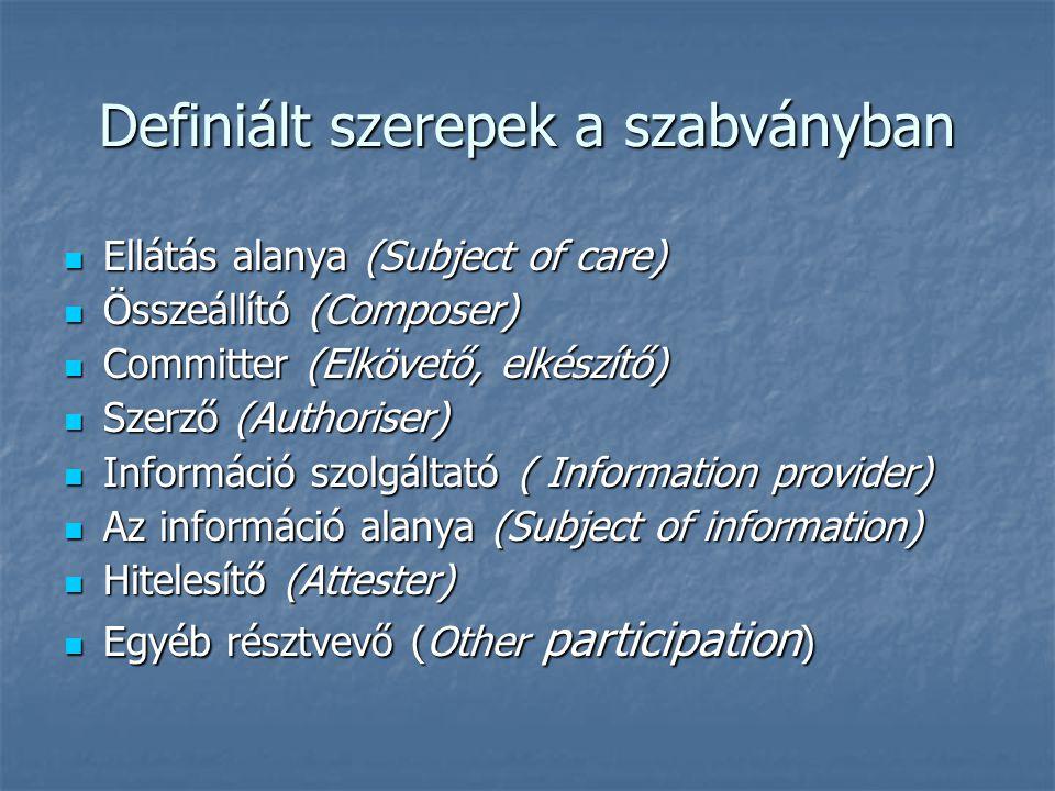 Definiált szerepek a szabványban Ellátás alanya (Subject of care) Ellátás alanya (Subject of care) Összeállító (Composer) Összeállító (Composer) Committer (Elkövető, elkészítő) Committer (Elkövető, elkészítő) Szerző (Authoriser) Szerző (Authoriser) Információ szolgáltató ( Information provider) Információ szolgáltató ( Information provider) Az információ alanya (Subject of information) Az információ alanya (Subject of information) Hitelesítő (Attester) Hitelesítő (Attester) Egyéb résztvevő (Other participation ) Egyéb résztvevő (Other participation )