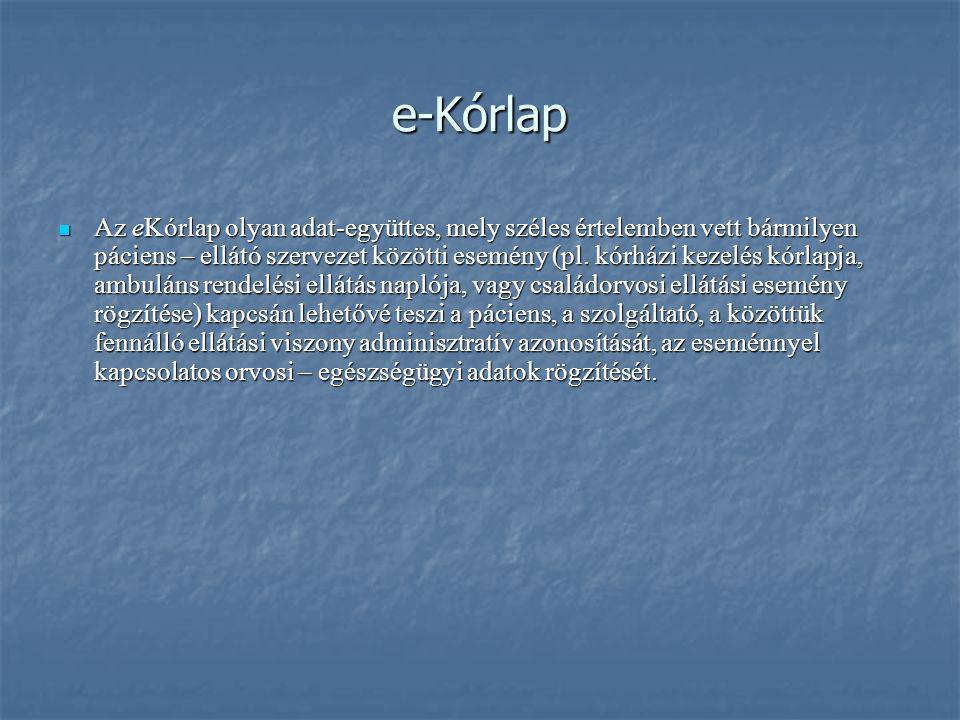 e-Kórlap Az eKórlap olyan adat-együttes, mely széles értelemben vett bármilyen páciens – ellátó szervezet közötti esemény (pl.