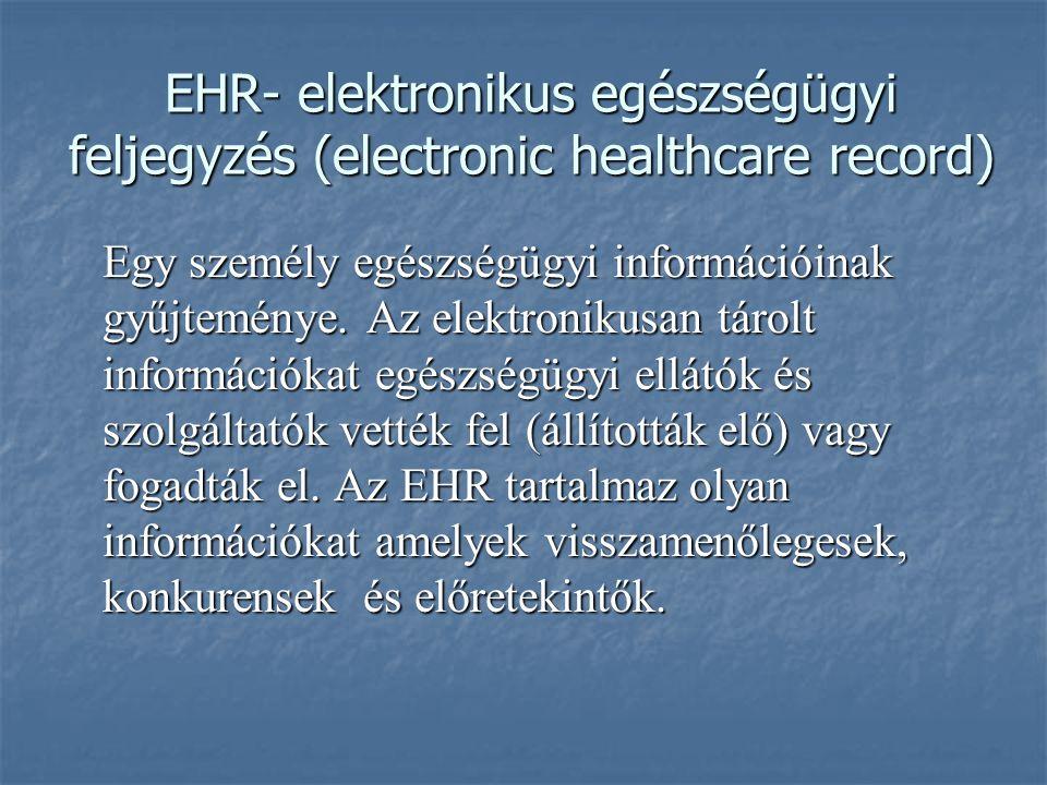 EHR- elektronikus egészségügyi feljegyzés (electronic healthcare record) Egy személy egészségügyi információinak gyűjteménye. Az elektronikusan tárolt