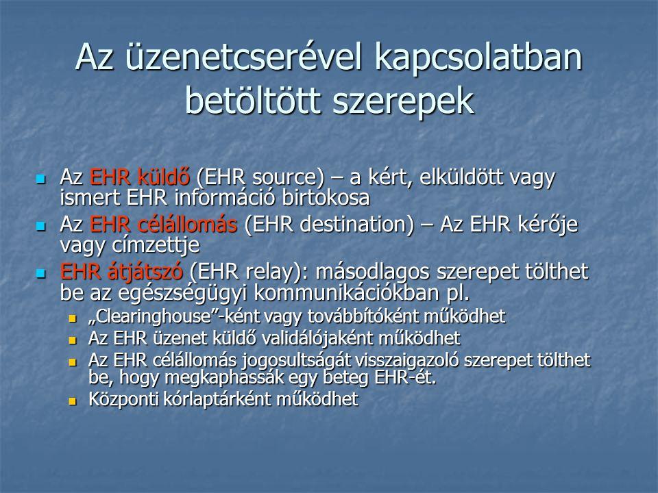 Az EHR küldő (EHR source) – a kért, elküldött vagy ismert EHR információ birtokosa Az EHR küldő (EHR source) – a kért, elküldött vagy ismert EHR információ birtokosa Az EHR célállomás (EHR destination) – Az EHR kérője vagy címzettje Az EHR célállomás (EHR destination) – Az EHR kérője vagy címzettje EHR átjátszó (EHR relay): másodlagos szerepet tölthet be az egészségügyi kommunikációkban pl.