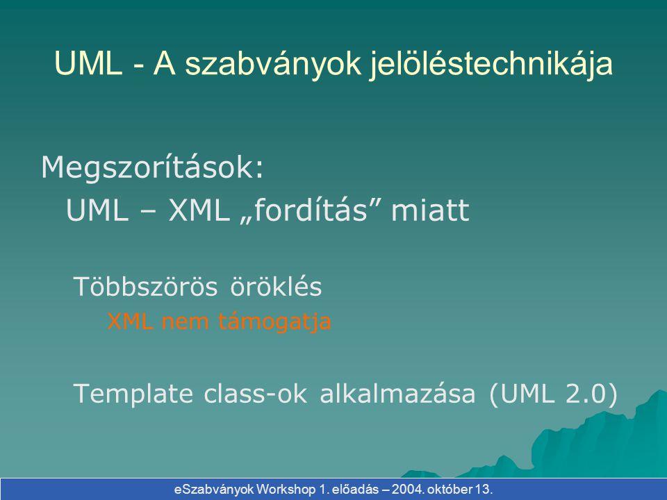 """eSzabványok Workshop 1. előadás – 2004. október 13. Megszorítások: UML – XML """"fordítás"""" miatt Többszörös öröklés XML nem támogatja Template class-ok a"""