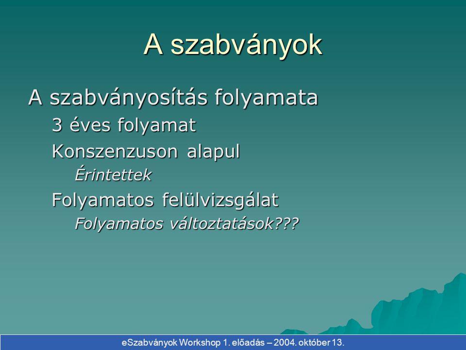eSzabványok Workshop 1. előadás – 2004. október 13. A szabványok A szabványosítás folyamata 3 éves folyamat Konszenzuson alapul Érintettek Folyamatos