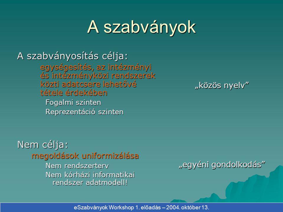 eSzabványok Workshop 1. előadás – 2004. október 13. A szabványok A szabványosítás célja: egységesítés, az intézményi és intézményközi rendszerek közti