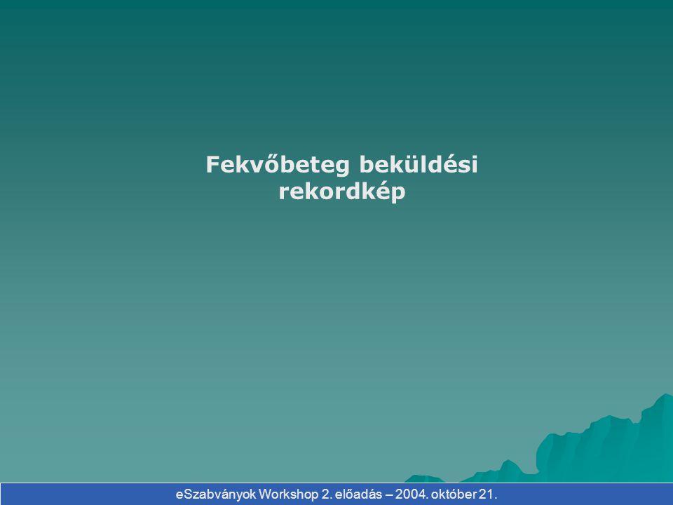 eSzabványok Workshop 2. előadás – 2004. október 21. Fekvőbeteg beküldési rekordkép