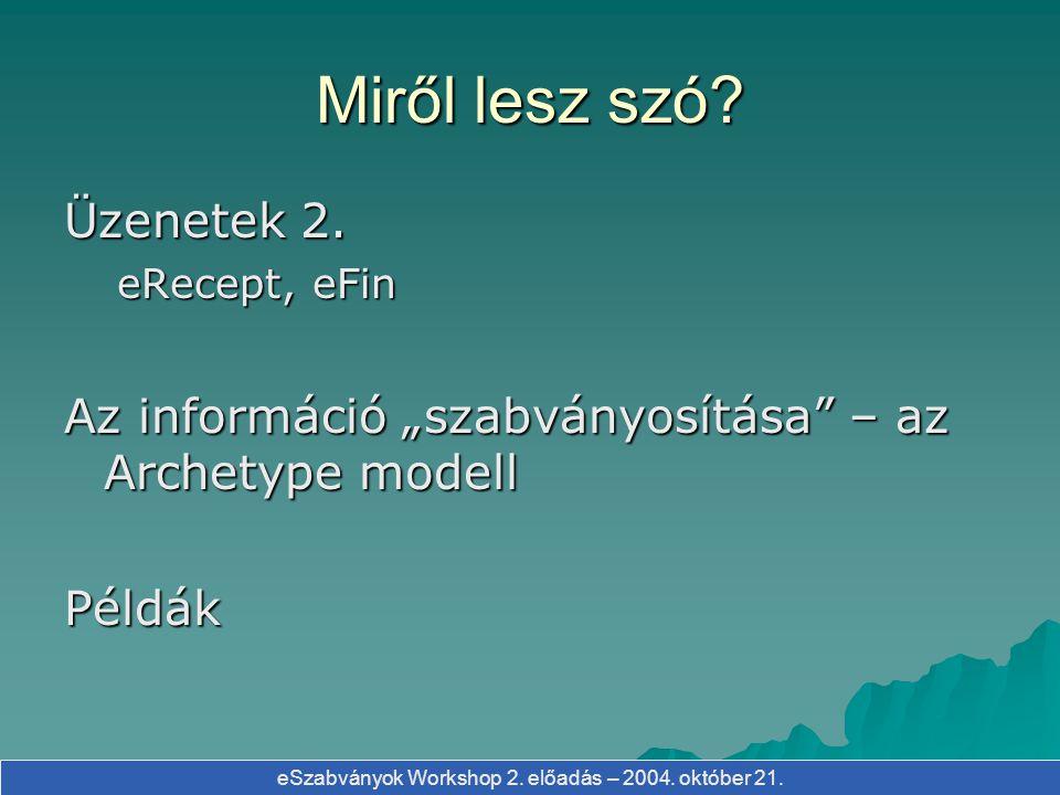 eSzabványok Workshop 2. előadás – 2004. október 21. Archetype - TAJ