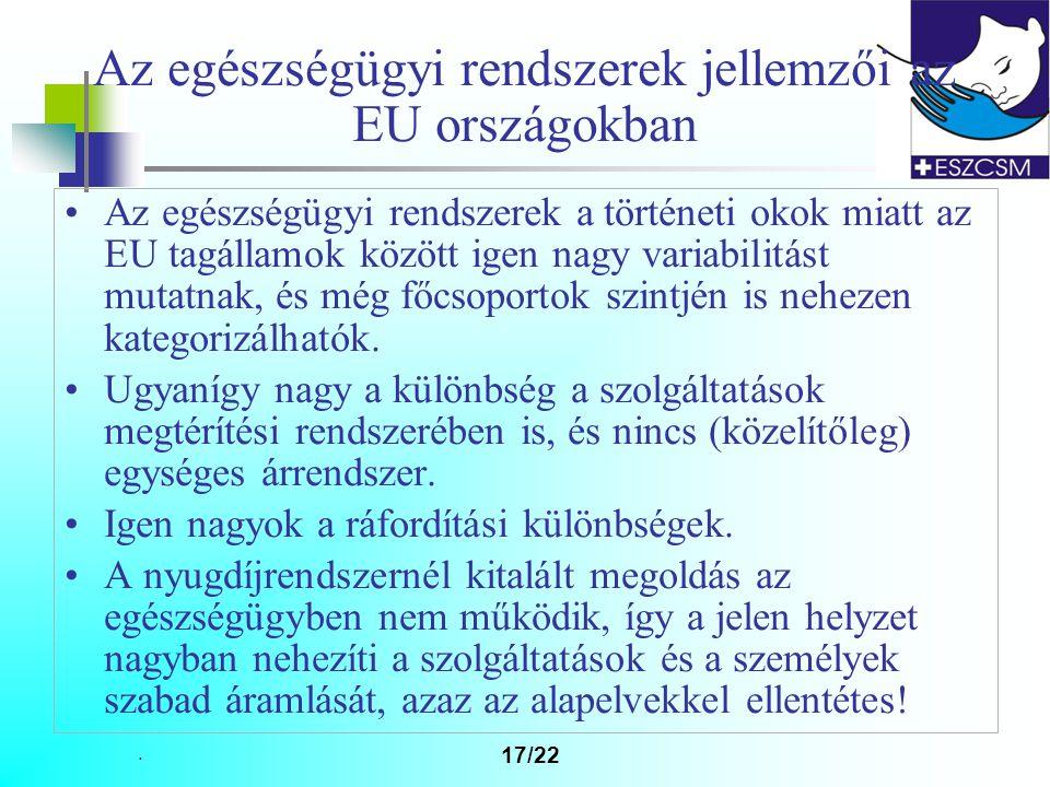 17/22 Az egészségügyi rendszerek jellemzői az EU országokban Az egészségügyi rendszerek a történeti okok miatt az EU tagállamok között igen nagy variabilitást mutatnak, és még főcsoportok szintjén is nehezen kategorizálhatók.