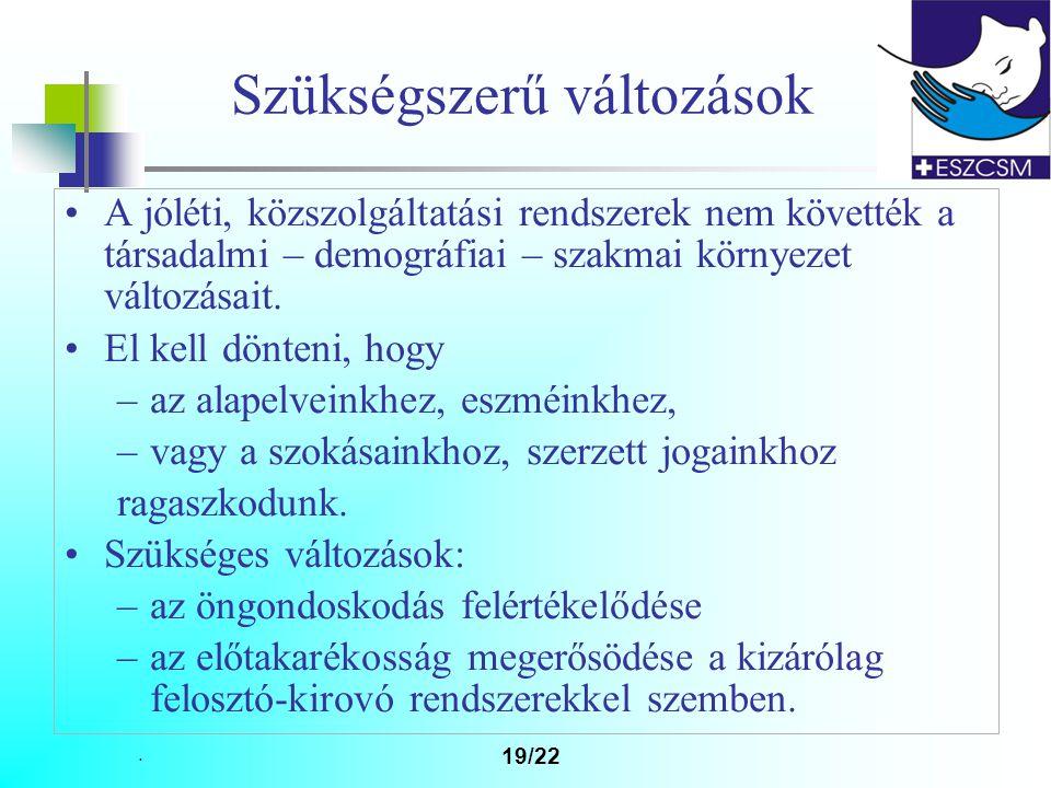 19/22 Szükségszerű változások A jóléti, közszolgáltatási rendszerek nem követték a társadalmi – demográfiai – szakmai környezet változásait.