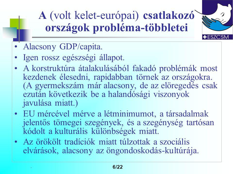 6/22 A (volt kelet-európai) csatlakozó országok probléma-többletei Alacsony GDP/capita.