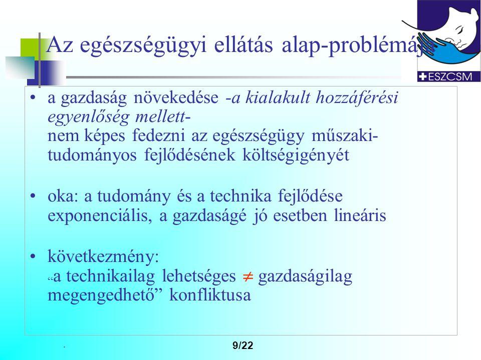 . 9/22 Az egészségügyi ellátás alap-problémája a gazdaság növekedése -a kialakult hozzáférési egyenlőség mellett- nem képes fedezni az egészségügy műszaki- tudományos fejlődésének költségigényét oka: a tudomány és a technika fejlődése exponenciális, a gazdaságé jó esetben lineáris következmény: a technikailag lehetséges  gazdaságilag megengedhető konfliktusa