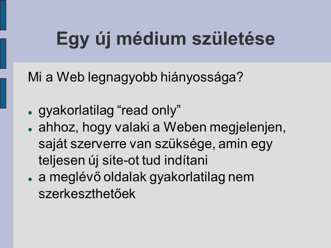 Egy új médium születése Az első wiki: a WikiWikiWeb 1995.