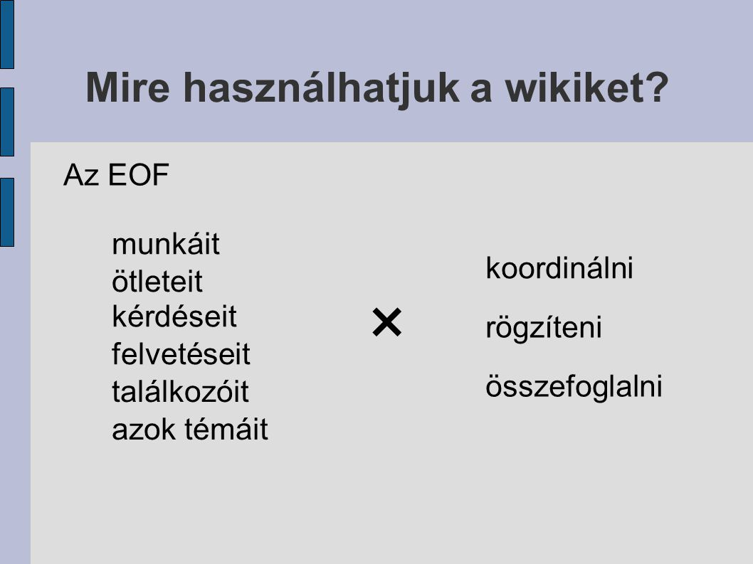 Az EOF munkáit ötleteit kérdéseit felvetéseit találkozóit azok témáit × koordinálni rögzíteni összefoglalni