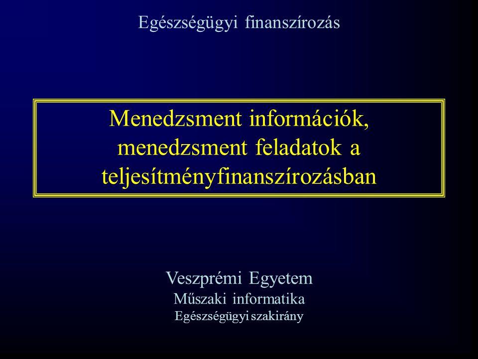 Menedzsment információk, menedzsment feladatok a teljesítményfinanszírozásban Egészségügyi finanszírozás Veszprémi Egyetem Műszaki informatika Egészsé