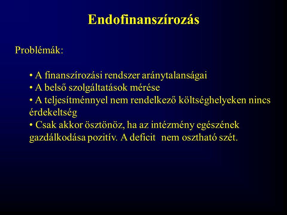 Endofinanszírozás Problémák: A finanszírozási rendszer aránytalanságai A belső szolgáltatások mérése A teljesítménnyel nem rendelkező költséghelyeken