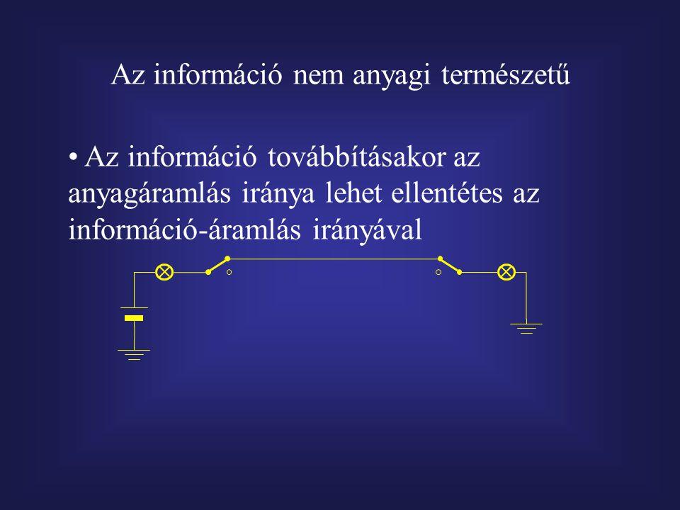 Az információ nem anyagi természetű Az információ továbbításakor az anyagáramlás iránya lehet ellentétes az információ-áramlás irányával