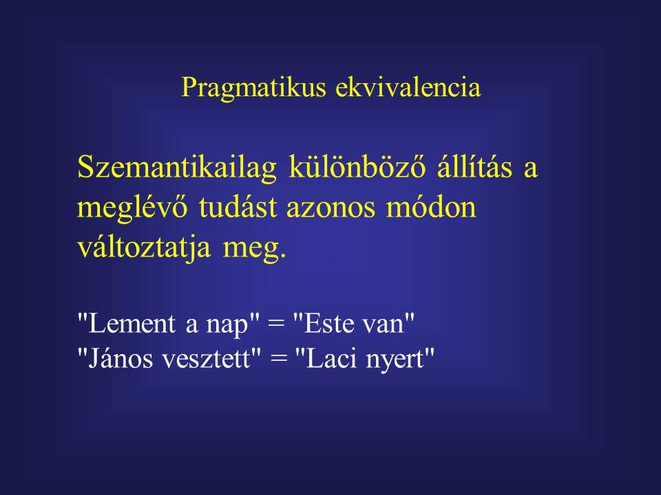 Pragmatikus ekvivalencia Szemantikailag különböző állítás a meglévő tudást azonos módon változtatja meg.